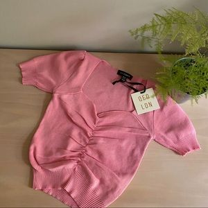 NWT QED LONDON Pink Ruched Front Rib Knit Top